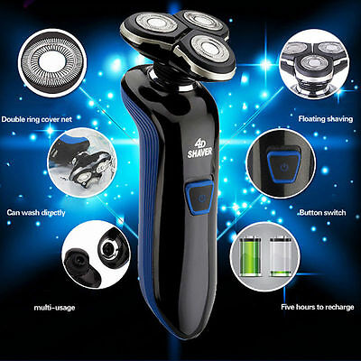 4D Men's Electric Shaver Cordless Rotary Rechargeable Washable Waterproof Razor