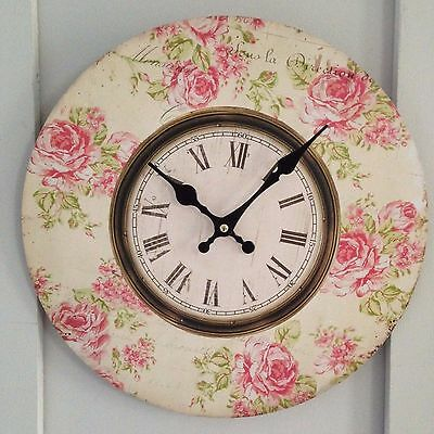 Shabby Vintage Chic Cream Wooden Wall Clock Pink Roses with Roman Numerals 33cm
