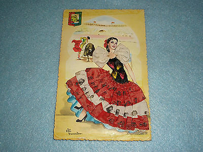 Vintage 1950's Spanish LACE POSTCARD Andalucia  51 Artist Signed FASHION