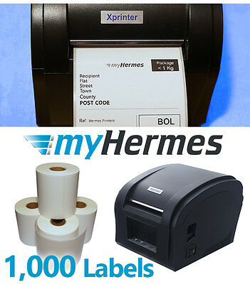 Direct Thermal Printer with 1000 Hermes Carrier labels 82mm x 140mm Starter Pack