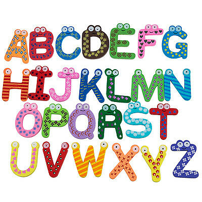 Funky Fun A-Z Magnetic Letters Wooden Fridge Magnets Kid toys Education T8