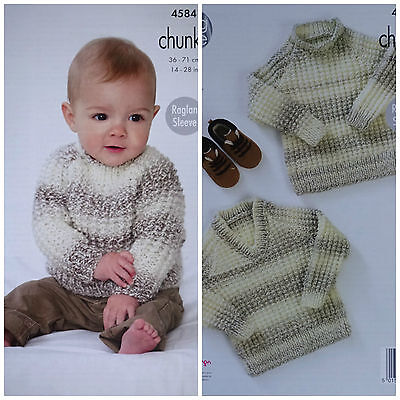 Baby KNITTING PATTERN Babies Long Sleeve Textured Jumpers Chunky King Cole 4584