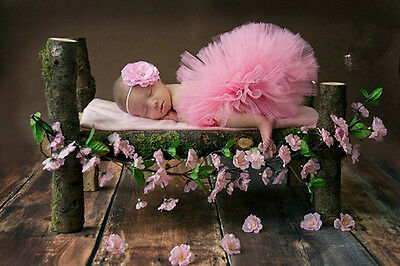 Newborn Baby Girls Tutu Skirt and Flower Headband for Photography Prop Outfits