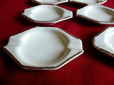 Vintage Set of 8 Individual Mini Ashtrays~ Porcelain w/Gold Trim