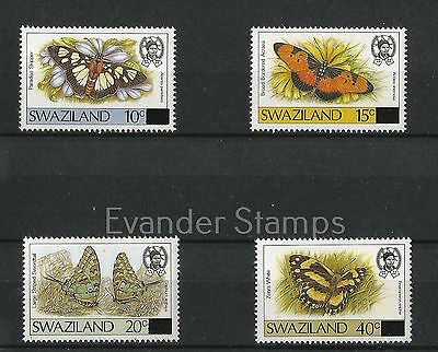 Swaziland 1990 Butterflies - Stamps of 1987 Surcharged. MNH