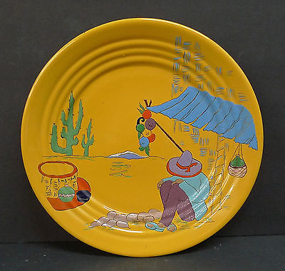 Bauer Vintage Painted Plate Mexican Siesta