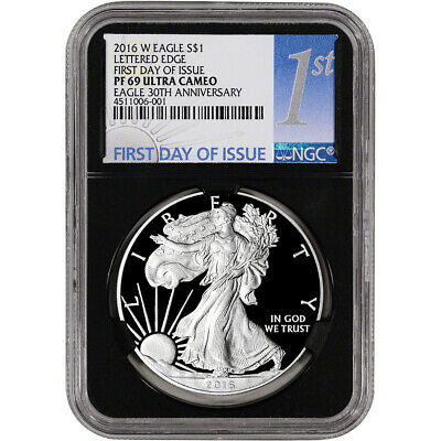 2016-W American Silver Eagle Proof - NGC PF69 UCAM First Day of Issue 1st Black