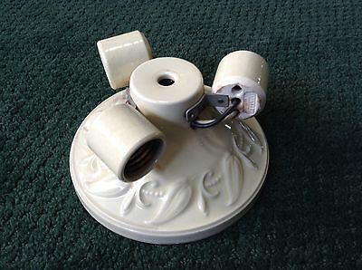 Antique Vtg Porcelier Porcelain 3 Bulb Ceiling Light Fixture Cream Color Beauty