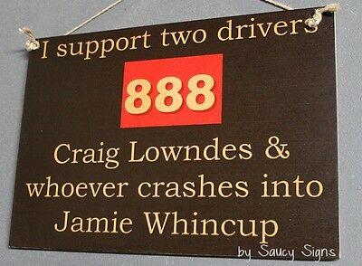 Craig Lowndes v Jamie Whincup V8 Supercars Holden Ford Commodore Sign