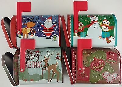 HOLIDAY CHRISTMAS GIFT BOXES  MAILBOXES HINGED DOOR WITH FLAGS Metal Mailbox