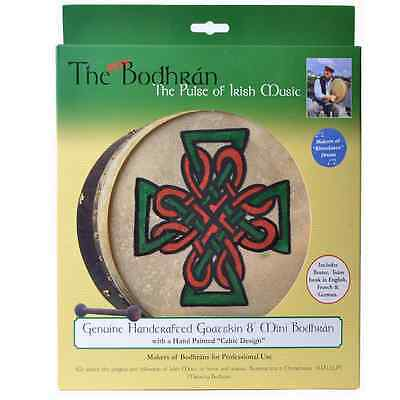 "Irish Mini Goatskin Bodhran 8"" (Celtic Cross Design) - Island Turf Crafts"