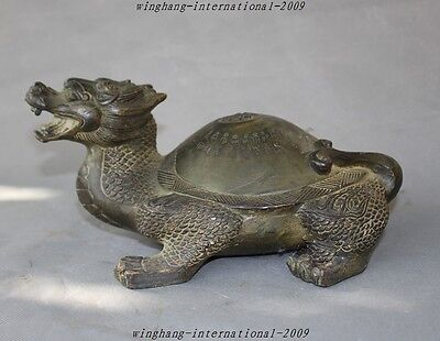 "Old China Fengshui Bronze Longevity""夀""Animal Dragon Turtle Tortoise lucky Statue"