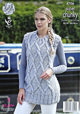 KNITTING PATTERN Ladies Sleeveless Long Cable Jumper Super Chunky King Cole 4706
