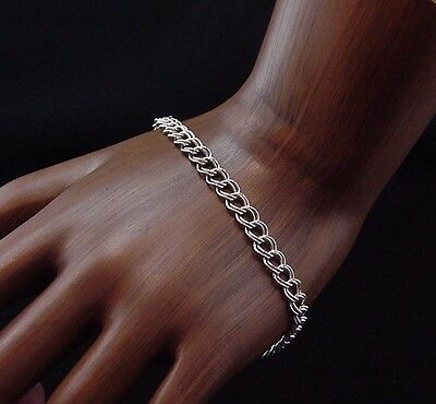Classic Estate 14k White Gold Charm Bracelet 7.25 Inch Link Lobster Claw Clasp