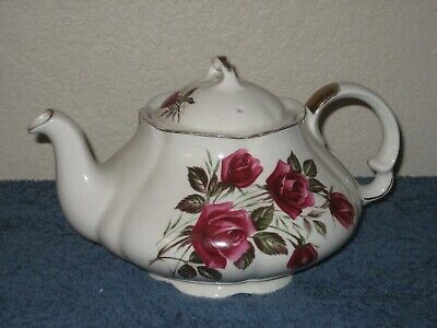 Wood & Sons England Alpine White Ironstone Tea Pot & Lid with Roses - Gold Trim