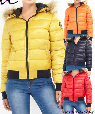 New PUFFER JACKET Ladies Quilted Padded Bubble Fur HOOD Warm Thick Womens WINTER