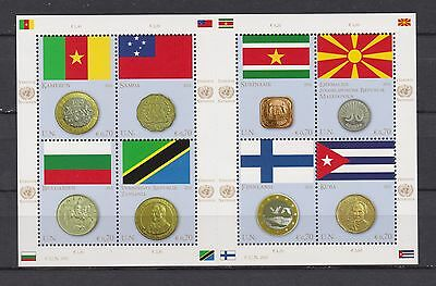 s10762a) UNITED NATIONS (Vienna Wien) MNH** 2012, Flags & coins 8v m/s