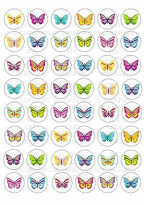48 Butterfly Colourful Wafer Rice Paper Mini Cupcake Topper Edible Fairy Cake