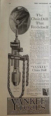 1919 Antique YANKEE TOOLS No. 1500 Chain Drill that Feeds Itself Original Ad