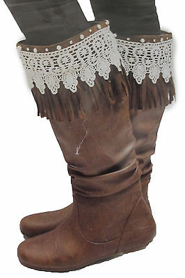 Western Women Boot Toppers Boho Long Brown Faux Leather Fringes Knee High Lace