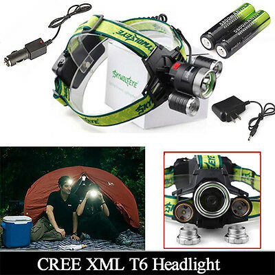 CREE 20000LM Headlamp T6 LED 3Mode Bright Headlight+ Car Charger GD+2*18650