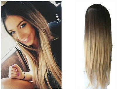24 Inches Long Straight Wavy OMBRE DIP DYE  3/4 Weave  Loose Curl Half Head Wig
