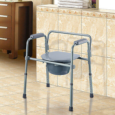 HOMCOM Folding Commode Chair Adjustable Height Raised Toilet Seat with Bucket