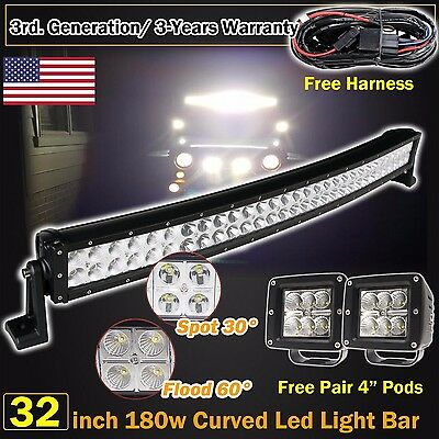 "32inch Curved Led Light bar +2X 4"" CREE Work Pods Offroad SUV Jeep Ram Truck 30"