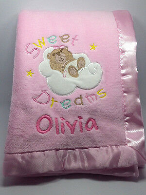 Custom Personalised Name Embroidery Baby Coral Fleece Blanket Cute Bear - Pink