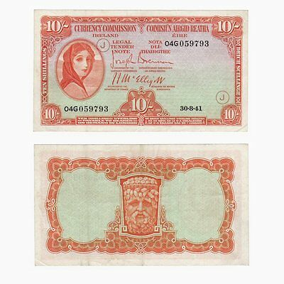 Ireland Currency Commission - Lady Lavery 10/- Banknote - P.1c - VF+.
