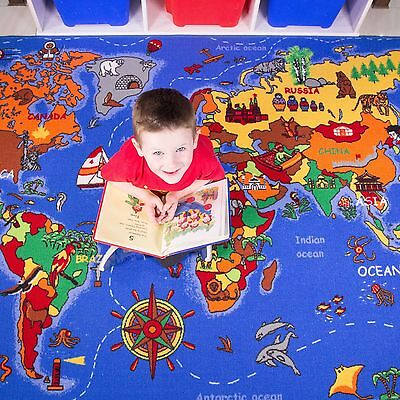 Kids World Map Atlas Geography Floor Mat Rug for Play Boy Girl Children Bedroom