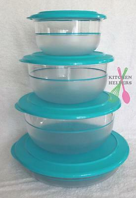 Tupperware Table Collection Set of 4 Bowls with Seals - Aqua Blue - New