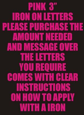 Three Inch Pink Iron On Characters - Letters or Numbers Vinyl Printing