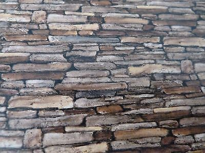 Dolls House Miniature 1:12 Scale Rustic Rock Light Brown Wallpaper