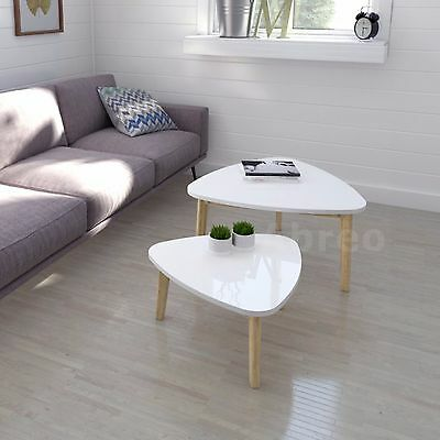 New Modern Nest of Tables White Retro Furniture Side Coffee Table Set 2 Pine leg
