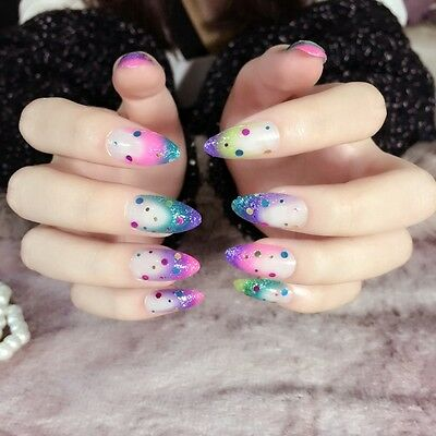 Pointed Rainbow Fake Nails Kit Colorful Nail Tips Round Sequins Decoration Z260