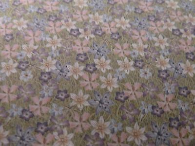 Dolls House Miniature 1:12 Scale Pink & Lilac Flower Wallpaper