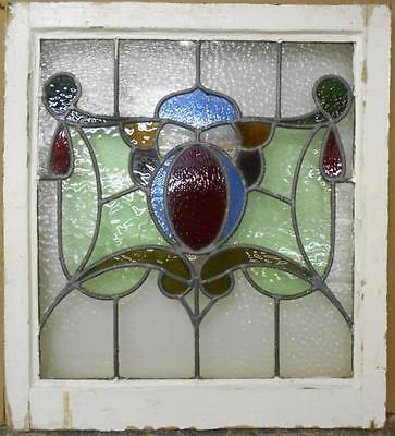 "EDWARDIAN ENGLISH LEADED STAINED GLASS WINDOW Abstract Design 23"" x 25.25"""