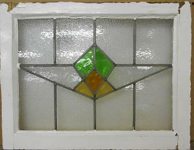 """MID SIZED OLD ENGLISH LEADED STAINED GLASS WINDOW Sweet Geometric 24.5"""" x 19.25"""" • CAD $113.40"""