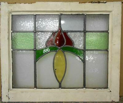 """OLD ENGLISH LEADED STAINED GLASS WINDOW Pretty Floral 21.75"""" x 18"""""""