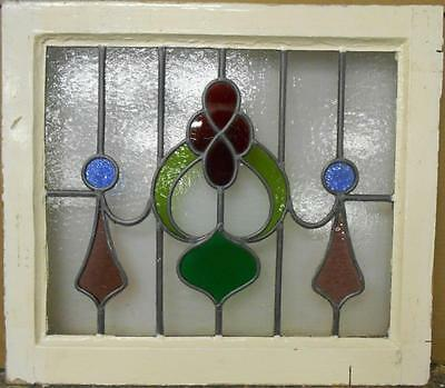 "OLD ENGLISH LEADED STAINED GLASS WINDOW Beautiful Abstract Floral 21.75"" x 19"""