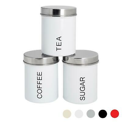 Metal Tea, Coffee, Sugar Canisters Storage Set - White