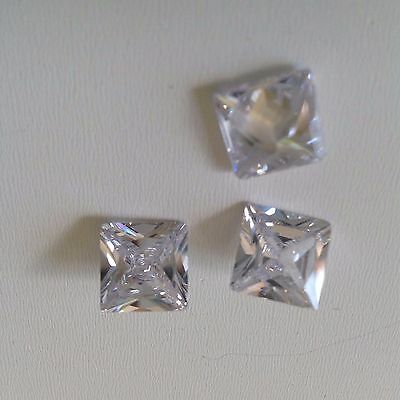 Princess Cut White Cubic Zircon Loose Stones  CZ IF  Lots Wholesale USA - AAA