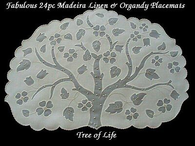 EXQUISITE 24 pc Vtg MADEIRA Linen Organdy OVAL Placemats TREE of LIFE PRISTINE