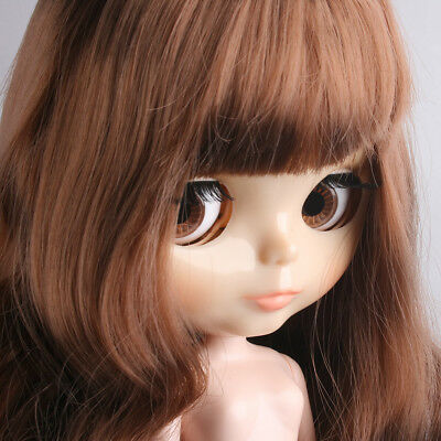 """Shnny Face 12"""" Blythe Doll Takara 7 Joint Nude Doll Brown Long Hair From Factory"""