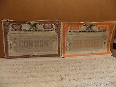 Two Nice American Sumatra Tobacco Company Stock Certificates Ideal For Framing