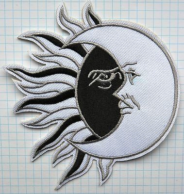 Black Sun White Moon YING AND YANG Embroidered Iron On Patch