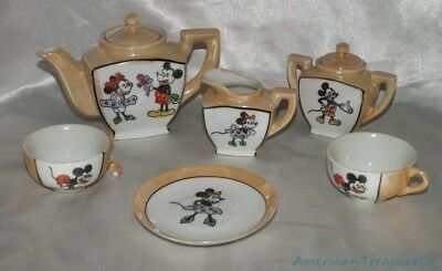Rare Vintage 1940s Disney Occupied Japan WDP Peach 8-Pc Mickey & Minnie Tea Set
