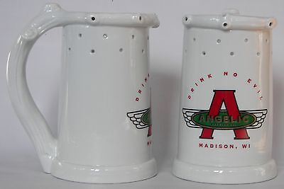 Angelic Brewery, Madison, Wis. porcelain trick puzzle beer stein with lithopane