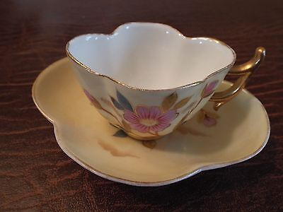 Victoria Carlsbad Austria Cup and Saucer Gilded Edges Yellow